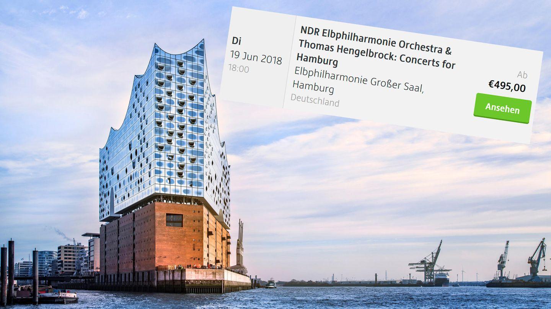 Die Hamburger Elbhilharmonie und ein Kartenangebot für 495 Euro bei Viagogo