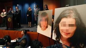 Staatsanwalt Mike Hestrin (3.v.l) spricht über die grausigen Vorwürfe gegen das kalifornische Ehepaar (rechts Fotos der beiden)