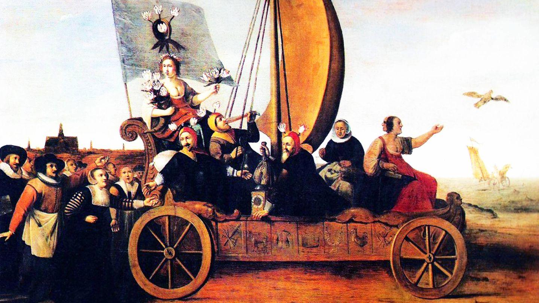 Hendrik Gerritz Pot satirisches Bild von Floras Narrenwagen, um 1640.