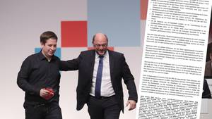 Juso-Vorsitzender Kevin Kühnert (l.) und SPD-Chef Martin Schulz