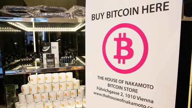 Bitcoin Schild in Wien