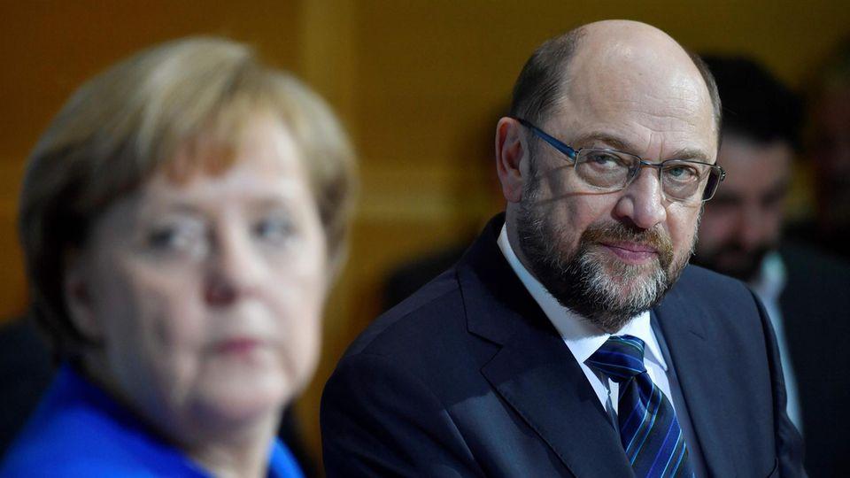 Bundeskanzlerin Angela Merkel und SPD-Chef Martin Schulz Anfang Januar in Berlin