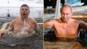 US-Botschafter Jon Huntsman (l.) und Russlands Präsident Wladimir Putin beim Eisbaden