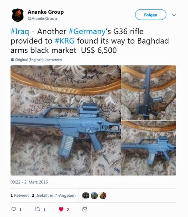 Schon im Frühjahr 1936 tauchten die Waffen aus der deutschen Lieferung bereits auf privaten Flohmärkten und in Waffenläden in Bagdad auf.