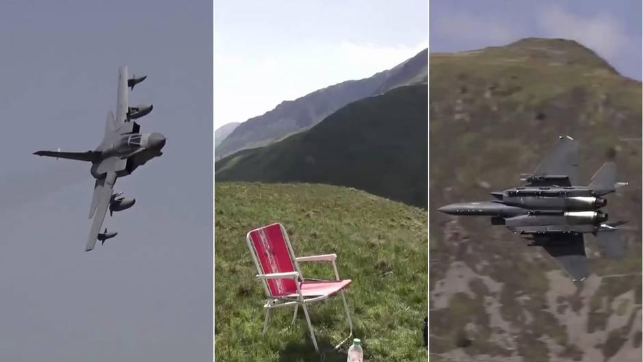 Mach Loop in Wales: Wer auf diesem Stuhl sitzt, dem fliegen Kampfjets um die Ohren