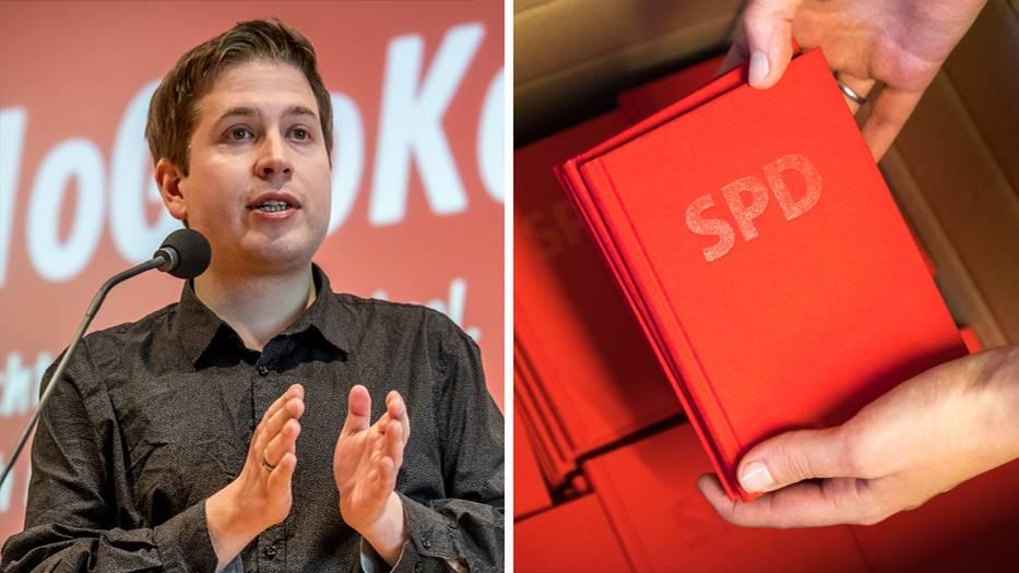 Juso-Chef Kevin Kühnert, SPD-Parteibücher