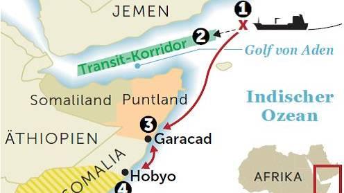 """(1) Die """"Marida"""" steuert vor der Küste Omans in den Golf von Aden, als die Piraten das Schiff entern. So weit vom afrikanischen Kontinent entfernt hat man nicht mit einem Angriff gerechnet. (2) Nur ein paar Stunden später wäre die """"Marida"""" in Sicherheit gewesen, denn sie war für einen Konvoi durch den gefährlichen Transitkorridor angemeldet. (3) Stattdessen navigieren die Piraten das Schiff vor die somalische Küste nahe der Stadt Garacad, in der die Seeräuber sich niedergelassen haben. (4) Um den Druck auf die Reederei zu erhöhen, steuern die Piraten das Schiff nach Süden zur Stadt Hobyo, nahe an das von der Terrorgruppe Al-Shabaab beherrschte Gebiet"""