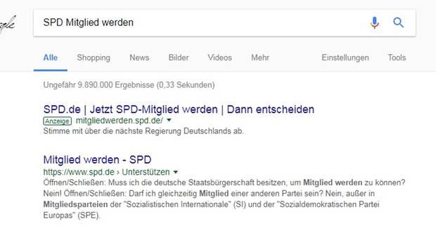 SPD Google Anzeige