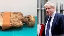 Die Mumie (l.) wurde 1975 in Basel entdeckt. Es ist eine Vorfahrin des britischen Außenministers Boris Johnson