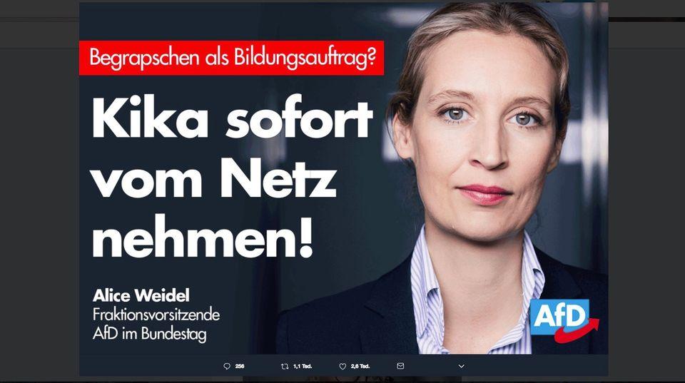 """Tweet von Alice Weidel mit der Headline: """"Kika sofort vom Netz nehmen!"""""""