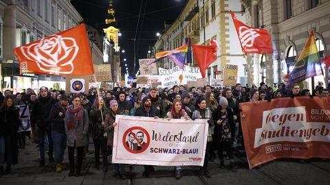 Demonstranten beim Wiener Akademikerball