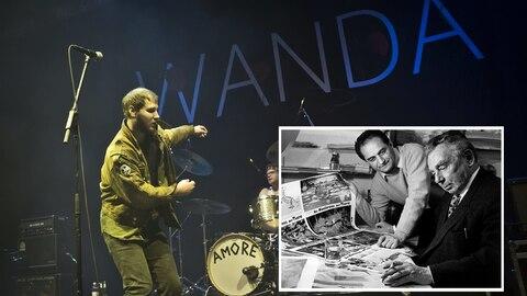 Der Frontsänger von Wanda performt auf der Bühne.