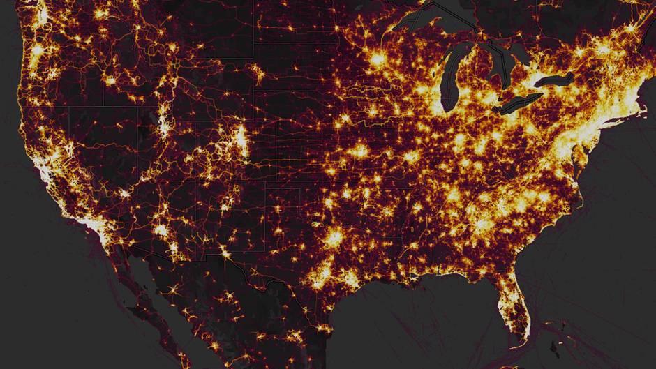 Auf dieser Karte sieht man die populärsten Strecken der Strava-Nutzer. Daraus kann man einiges ableiten.