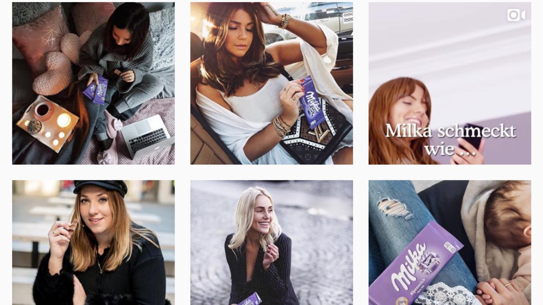 Einige Instagram-Fotos aus der Milka-Werbekampagne