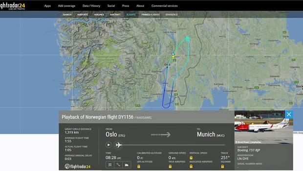 Die Route der Boeing 737 von Norwegian: Nach dem Start in Oslo ging es am Samstag nicht nach München, sondern zurück zum Ausgangsflughafen.