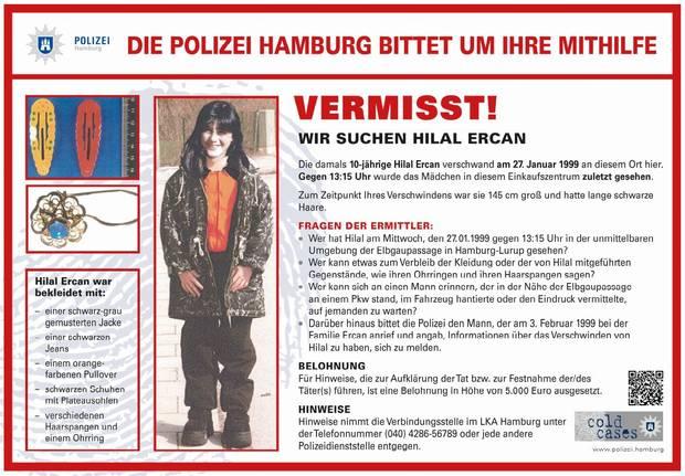 Das Fahndungsplakat der Hamburger Polizei zum Verschwinden von Hilal Ercan