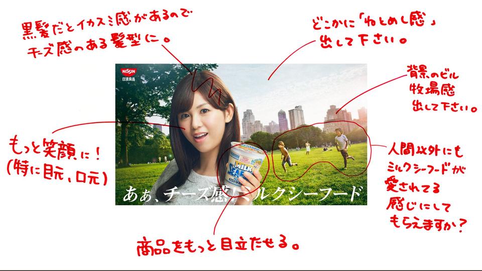 Ein Plakat für japanische Nudeln mit Anmerkungen am Rand