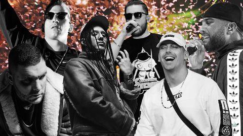 Die Rapper Fler, Rin, Bausa, Gzuz, Raf Camora und Nimo aus Deutschland auf einem Bild.