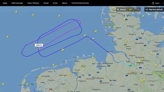 Erstflug am 31. Januar 2018 des Airbus A321LR: Der Jet fliegt seine Kreise über der Nordsee.