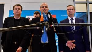 Die neuen AfD-Bundestagsausschussvorsitzenden Stephan Brandner, Peter Boehringer und Sebastian Muenzenmaier (v.l.n.r.)