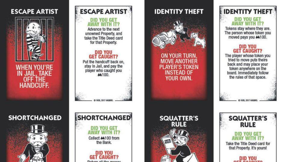 Einige der Aktionskarten aus dem neuen Monopoly-Spiel.