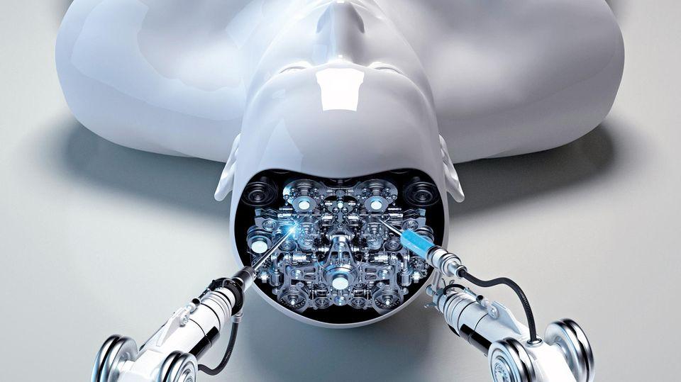 Vision: Ein Roboterarm repariert das elektronische Gehirn eines Artgenossen