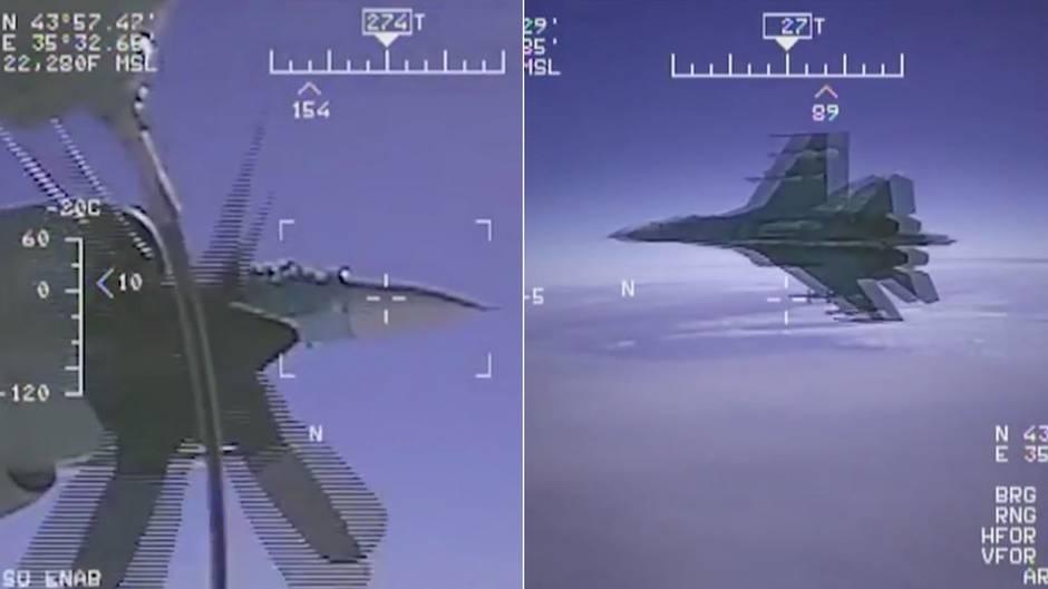 Schwarzmeer-Zwischenfall: Bordkamera zeigt: Russischer Kampfjet verfehlt US-Aufklärer nur knapp