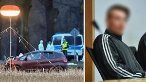 Ein zerstörtes Auto in einem Feld der Dreifachmörder vor Gericht