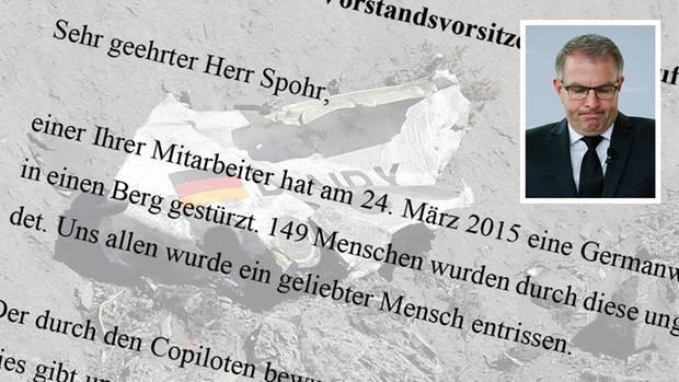 Die Hinterbliebenen der Opfer des Germanwings Fluges haben Lufthansa-Boss Carsten Spohr einen mahnenden Brief geschrieben.
