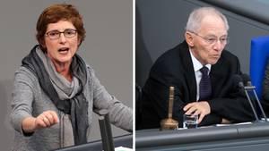 Grünen-Fraktionsgeschäftsführerin Britta Haßelmann und Bundestagspräsident Wolfgang Schäuble (Kombo)