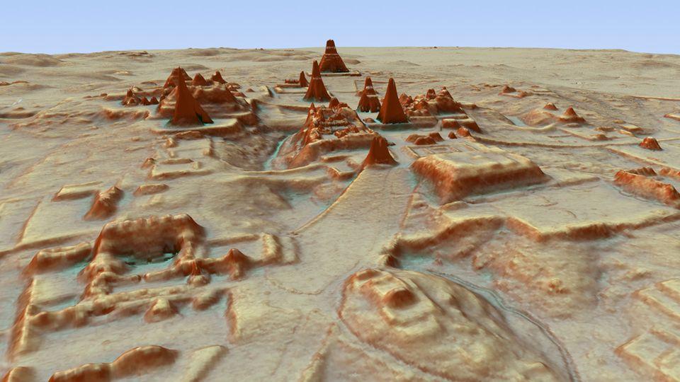 Dieses durch LiDAR Luftbildvermessung hergestellte 3D-Bild zeigt eine Darstellung der Ausgrabungsstätte einer Maya-Stadt.