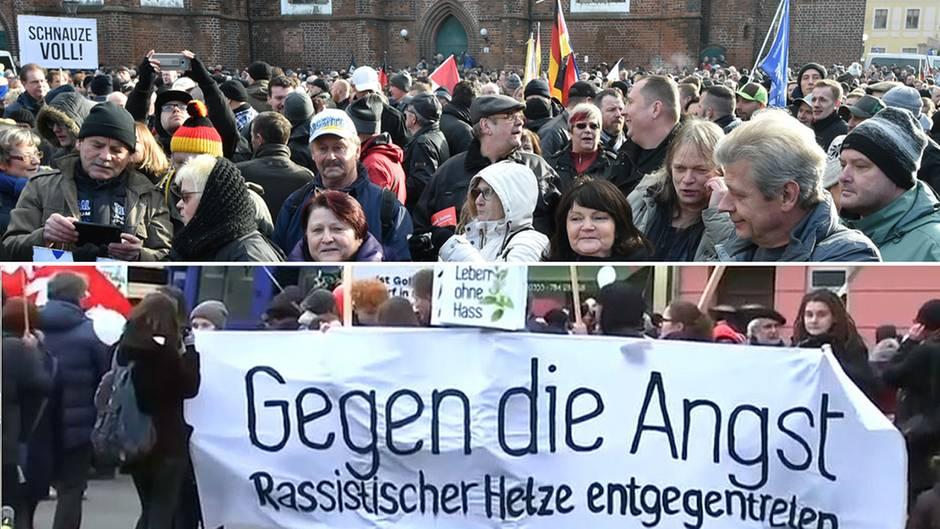Demo und Gegendemo: In Cottbus gingen am Samstag Hunderte Menschen auf die Straße. Die einen gegen den Hass und für mehr Weltoffenheit, die anderen gegen Migration und Überfremdung.