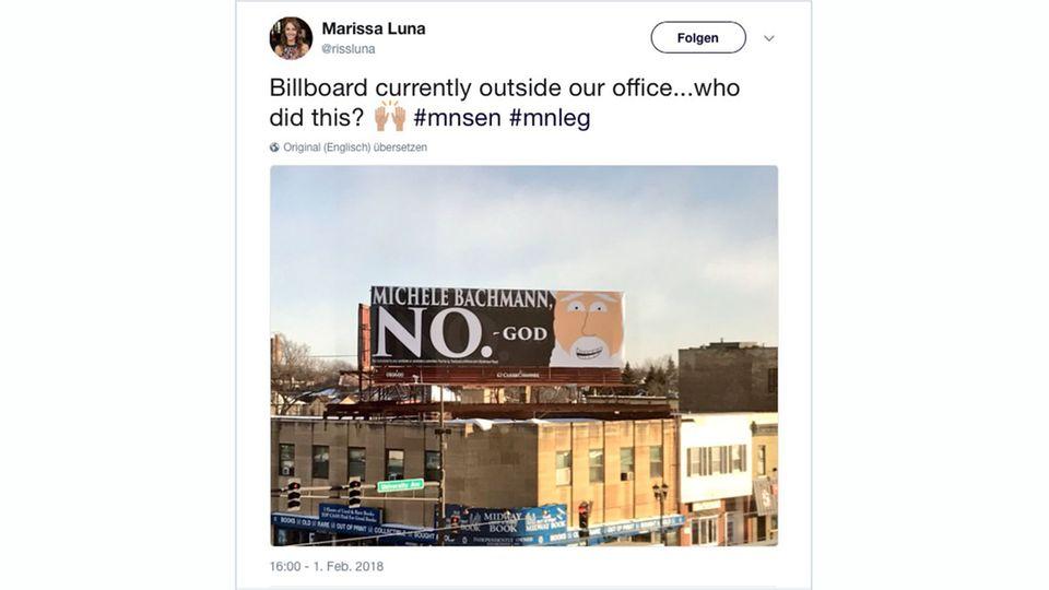 """""""One Billboard in St. Paul"""": Michele Bachmann hört auf den lieben Gott: Keine Kandidatur für den US-Senat"""