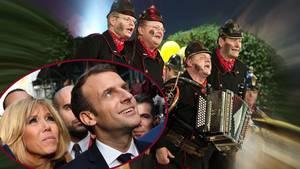 """Brigitte Macron und Emmanuel Macron in der Bildkombo mit der Narrentruppe """"Altneihauser Feierwehrkapell'n""""."""