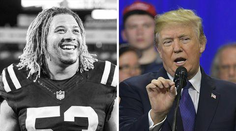 Footballer Edwin Jackson (l.) nutzt US-Präsident Donald Trump