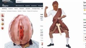 Eine Vagina-Maske und ein Karnevalskostüm mit Riesen-Penis