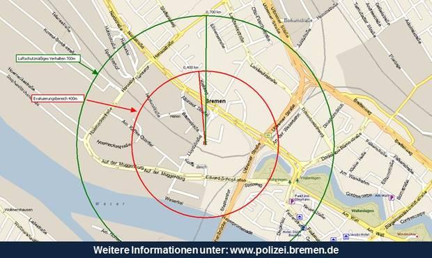 Karte Bombenentschärfung Bremen