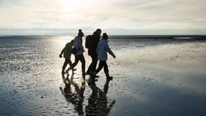 Armutsrisiko für Familien in Deutschland: Eine vierköpfige Familie beim Strandspaziergang (Symbolbild)