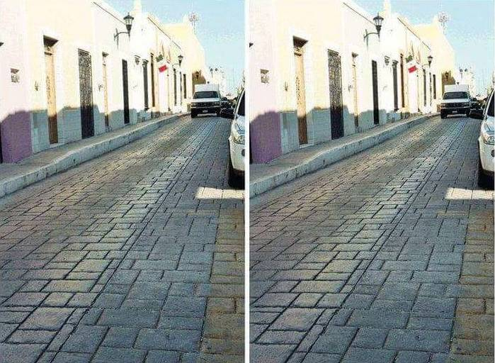 Die optische Täuschung zeigt eine Straße, im Hintergrund ist ein weißer Van zu sehen