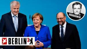 Die kennen wir doch: Horst Seehofer, Angela Merkel und Martin Schulz haben sich ihre Zukunft gut abgesichert