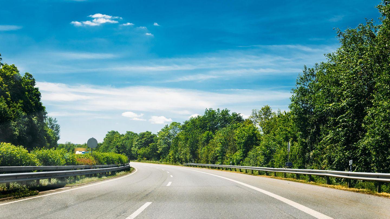 Autobahn umzingelt von Bäumen