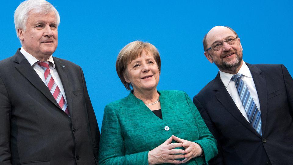Die drei von der Groko: Horst Seehofer, Angela Merkel, Martin Schulz