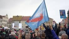 Menschen auf einer Demonstration mit AfD-Fahnen
