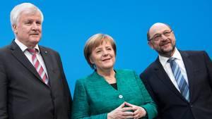 GroKo-Partner Hrost Seehofer, Angela Merkel, Martin Schulz