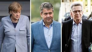 Angela Merkel, Sigmar Gabriel, Thomas de Maiziere: Alle drei zählen nach aktuellem Stand nicht zu den Gewinnern des GroKo-Pokers