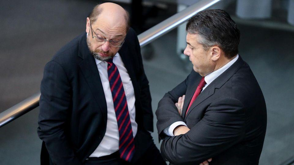 Klärendes Gespräch? Sigmar Gabriel und Martin Schulz im Gespräch