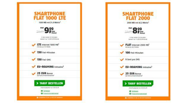 Die beiden Tarife von Klarmobil im Vergleich: Links mit LTE, rechts ohne (Quelle)