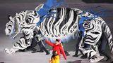 Grrrr: Der weiße Tiger Soohorang ist das Maskottchen der Spiele. Auf der Eröffnungsfeier sah er aber wesentlich besser aus als die offizielle Figur.