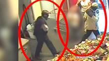 Die Bilder einer Überwachungskamera zeigen vermutlich Burkhard Garweg (r) und Ernst-Volker-Staub in Hildesheim.