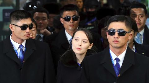 Kim Yo Jong kommt im Olympiastadion von Pyeongchang an
